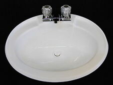 Mobile Home RV Parts. Bathroom Lav Sink w/ Faucet, Drain & Hardware White 20x17