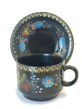 Vintage Tea Cup and Saucer Hand Painted Art Collectible China from Ecuador