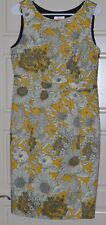 Liberty of London Target Retro Yellow Floral Print Fitted Sheath Dress Sz 10