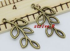 6/30/150pcs Tibet Silver/Bronze hollow leaves Charms pendant Connector 41x19mm