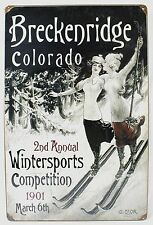 BRECKENRIDGE 1901 WINTERSPORTS STEEL SIGN Colorado Snow Ski NEW Vintage Repro US