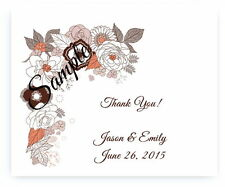 100 Personalized Custom Orange Brown Floral Wedding Bridal Thank You Cards