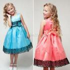2-7 Y Girl Kids Flower Princess Bow Dress Wedding Party Pageant Tulle Rose Skirt