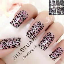 LEOPARD Sparkly Pink Nail Art Wrap Full Cover Stickers #06162 Free P&P