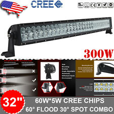 """CREE 30""""/32Inch 300W Curved LED Light Bar Combo FLOOD SPOT OFFROAD 4WD FORD JEEP"""