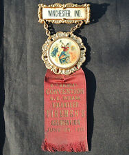 1911 INDIANA VOLUNTEER FIREMEN'S ASSOC. CONVENTION CELLULOID MEDAL WINCHESTER