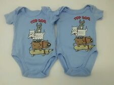 Lot of 2 Boys 0-3 Months One-Piece Short Sleeve Bodysuits Blue Top Dog DG Baby