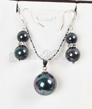 New Rainbow Black Shell Pearl Pendant Necklace 925 Sterling Silver Earrings Set