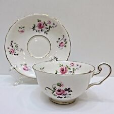 C&E Bone China Teacup & Saucer, VICTORIA Scalloped Edges Pink Peonies Gold Trim