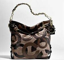 NEW COACH Inlaid C BROOKE Taupe Brown Leather Suede LG Hobo Tote Bag Purse RARE!