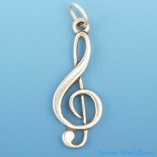 TREBLE CLEF MUSIC SYMBOL .925 Solid Sterling Silver Charm Pendant