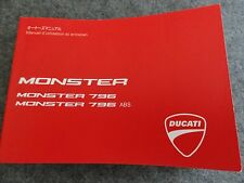 Ducati Monster 796 and 796 ABS  Motorcycle Owners Manual - JAPANESE and FRENCH