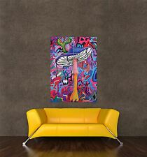 POSTER PRINT PAINTING ABSTRACT PSYCHEDELIC MUSHROOM TRIPPY COLOURFUL COOL SEB079