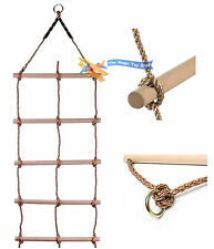 Wooden Rungs Large Crawling Double Rope Ladder Climbing Frame Wall Tree Swing