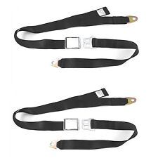 2PC 2 Point Black Lap Seat Belt with DOT Cert 88 Inch (Pair)
