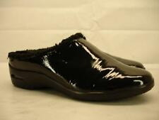 womens 9 M COLE HAAN Air Reena Black Patent Leather Clogs Mule Slipper Faux Fur