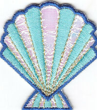 SEASHELL-AQUA & WHITE w/SPARKLE - SEASHELL - BEACH - Iron On Embroidered Patch