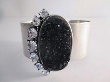 Gerard Yosca Hammered Silver Synthetic Druzy & Crystal Cuff Bracelet NIP $295 IR