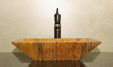 Modern Natural Stone Bathroom Vessel Sink - Travertine Marble (Rec)