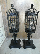 @ HUGE PAIR 1920S STYLE WROUGHT IRON SPANISH REVIVAL EXTERIOR POST LAMP LANTERN