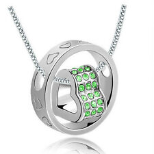 Hot Green Rhinestone Silver Plated Love Heart Round Charm Pendant Necklace
