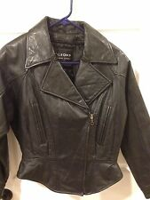 Wilsons Black Leather Biker Jacket Small Thinsulate Lined Motorcycle