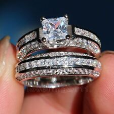 Brand Engagement Topaz Diamonique 10KT White Gold Filled Wedding Ring Set Sz 7/N