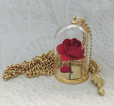 BEAUTY AND THE BEAST ENCHANTED ROSE DISNEY GLASS DOME NECKLACE US SELLER