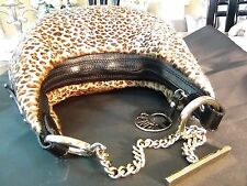 US seller Auth FENDI LEOPARD FUR LEATHER CHAIN SMALL PURSE BAG GOOD