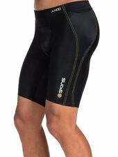 SKINS Men's A400 Half (1/2) Tights, Blackwith Yellow Stitching, Small