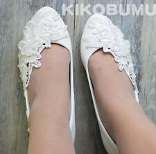 White Ivory Wedding shoes Lace Butterfly Bridal Bridesmaid Flat High Low Heels