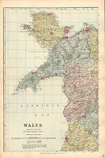 1881 HAND COLOURED MAP ~ WALES OVER 4 SHEETS ~ BOROUGHS & RAILWAY STATIONS