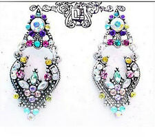 """ICON 1.5"""" PINK RAINBOW MULTI COLOR  CRYSTAL DANGLE SILVER EARRINGS BUTTERFLY NEW"""