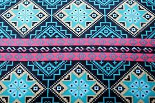 SOUTHWESTERN AZTEC STRIPE DESIGN FLANNEL FABRIC 100% COTTON SEWING QUILTING BTY