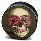 Skull Flower Eyes Retro Fashionable Logo Ear Tunnels Plugs Double Flare 324