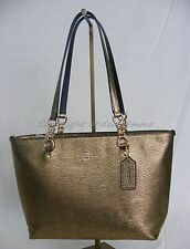 NWT! Coach # 37117 Pebbled Leather Small Sophia Tote in Dull Gold