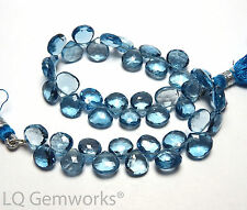 "8"" LONDON BLUE TOPAZ 8mm Faceted Teardrop Beads AAA /h3"