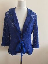 Willi Smith Royal Blue Lace Jacket Cardigan Size L
