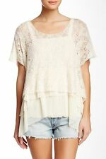 NEW✿ Free People M SWEATER SHIRT S/S TOP $148 RV Ivory