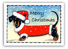 EXCLUSIVE DESIGN PACK OF 6 DACHSHUND DOG CHRISTMAS CARDS BY SUZANNE LE GOOD