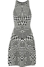 BNWT Alexander McQueen Houndstooth Monochrome Black White Dress L UK