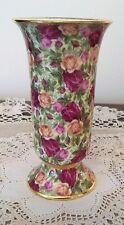 Royal Albert Old Country Roses Chintz Pedastol VASE -RARE 6 inch Made in ENGLAND