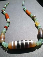 1 Luxuous Large Old Rare Stripes Dzi Bead Assyrian Design Necklace