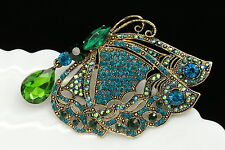 birthday gift wedding dress teal green crystal butterfly brooch pin pendant H11