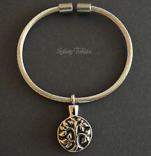 Tree of Life Keepsake Charm Bracelet - Holds Ashes Hair Sand Fur - Cremation Urn