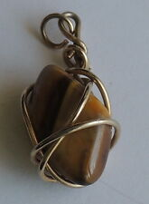 Vintage Polished Tiger Eye Stone Gold Plated Wire Wrapped Pendant