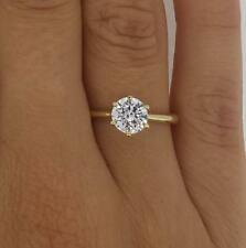 1.25 Ct Round Cut Diamond Engagement Ring VS2/H 14K Yellow Gold Enhanced