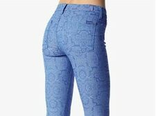 7 For All MANKIND Women's 'THE SKINNY in MOROCCAN BLUE JACQUARD' JEANS - 23