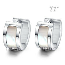 Elegant TTstyle Mother Of Pearl S. Steel Thick Hoop Earrings Silver Gold Rose
