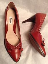 New��Clarks��Size 7.5 Deeta Bombay Orange Leather Pointy Stiletto Shoes 41.5EU